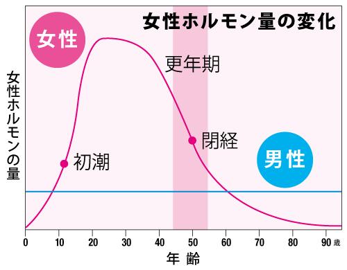更年期と女性ホルモン量グラフ