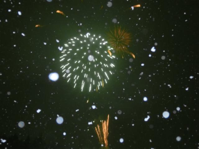 八方尾根火祭り 花火
