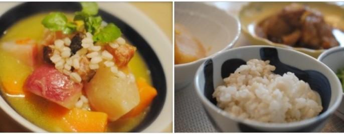 野菜スープ、もち麦入りご飯