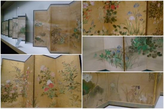 四季草花図屏風、花鳥図襖