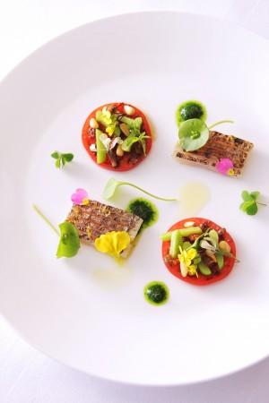 太刀魚のカルパッチョ プロバンス風トマトサラダ