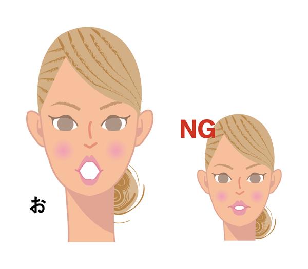 正しい「お」の形とNG例イラスト