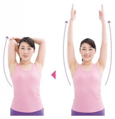 広背筋ごと、二の腕を伸ばす運動