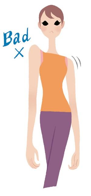大きく動かそうとすると、肩が上下してしまいがち。左右の高さは変えず、前後に動かすようにしましょう