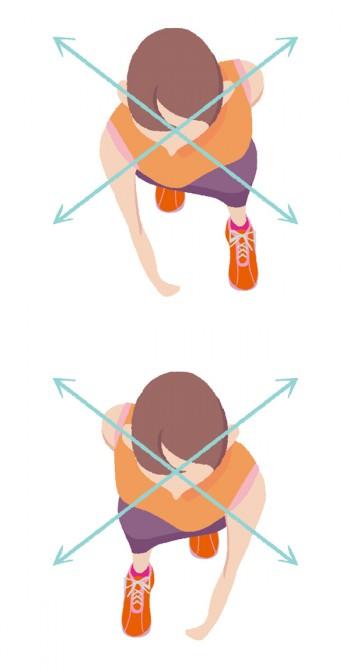 肩甲骨ごと肩を引くと、引いた側の足が前に出ます。その感覚がつかめるとスムーズにクロスして歩けます