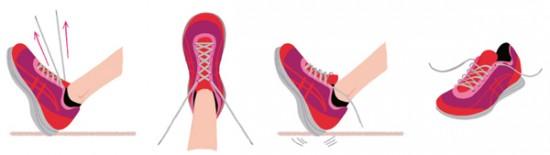 (イラスト右から) ◎ひもを緩める…毎回いちいち、ひもを緩めてから足を入れることが最重要。正しく履くにはこれが鉄則です ◎地面にトントン!…足を立ててかかとだけ地面につけ、シューズのかかとと足のかかとをぴったり合わせます ◎つま先から締める…足を立てた体勢のまま、つま先側から順に足の形通りにひもを締めます。足が動かないようにしましょう ◎最後まで足を立てて…かかとを地面に押しつけながら、ひもを上方向に引き、さらにキュッと締めてから結びます