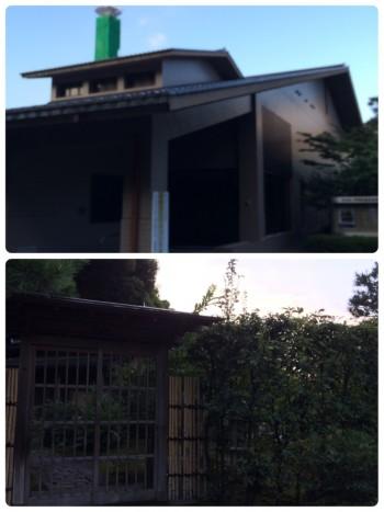 写真6 中村記念美術館と茶室玄関コラージュ