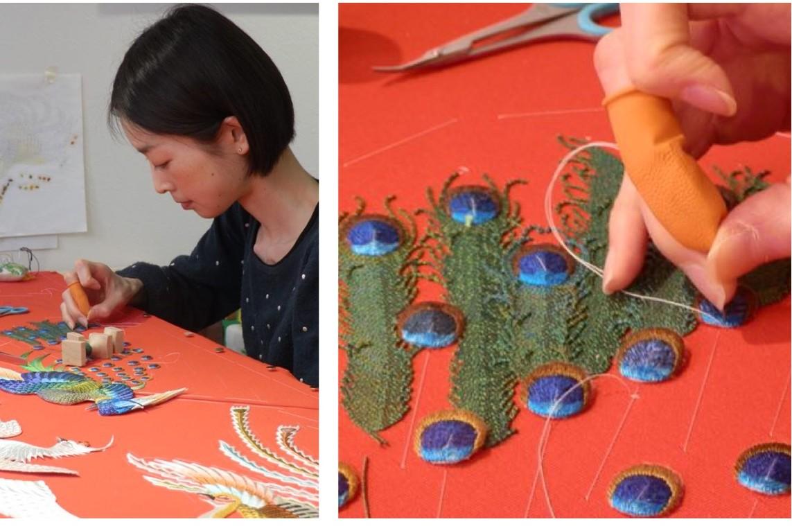 小原 刺繍 作業