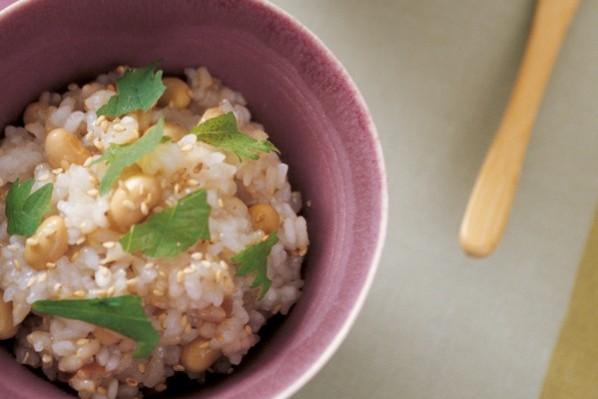 主食で繊維をたっぷりと④炒り玄米の野菜がゆ&発芽玄米の梅おこわ