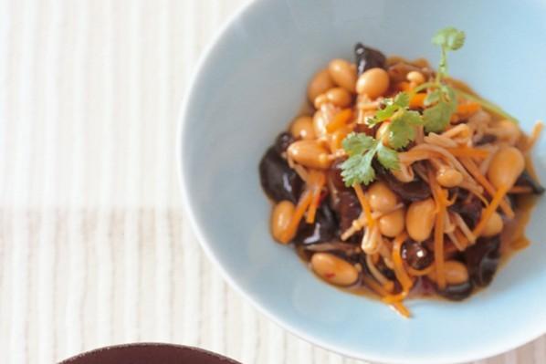 作り置きできる小さなおかず⑦大豆ときくらげの中華風マリネ&えのきとなめこの当座煮