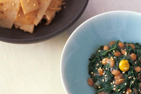 シンプルな繊維たっぷりおかず②モロヘイヤ納豆&たけのこのキムチ煮