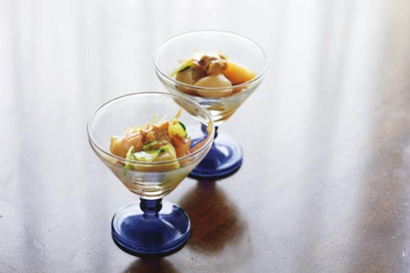 手軽でおしゃれな「健脳」魚介料理/①山田玲子さんの「帆立貝柱とみょうがの梅風味」