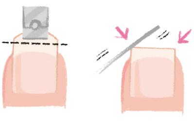 指の先端より長めの位置で横一直線にカット。角を少しだけ落とし、ヤスリで整えて完成です