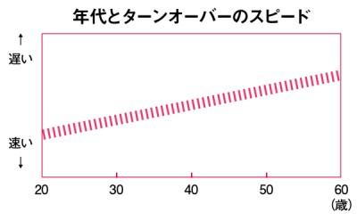 エイジングケアコスメ ターンオーバー表