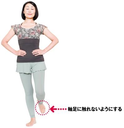 両手を腰にあて、両目を閉じて、片足立ちになります。上げた足は高さや位置は自由ですが、軸足に触れないように。軸足が少しでもずれたり、上げた足が床についた時点で終了。両足行って、長いほうの時間を記録
