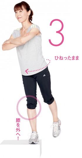 完全に片足に体重が乗るまでひねったままに。次の段からも同様に繰り返します
