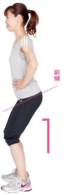 両足は肩幅と同じ幅で開き、膝を軽く緩めて立ちます。あえて大げさに骨盤を前傾させます