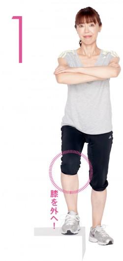 階段に片足をかけるとき、あえて膝をやや外に向けて足を置きます。反動がつかないよう、腕は軽く組んでおくとベター