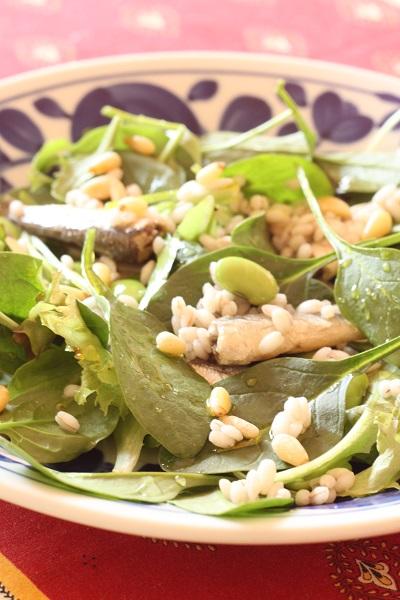 ヘンプオイルで作る、枝豆とサーディンのサラダ