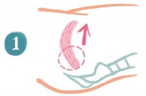 オナラや便を我慢する要領で、肛門を締めます。骨盤底筋を、下(お尻側)から上(お腹側)に動かすようにして