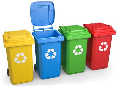 verschiedene Recycling Tonnen
