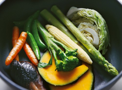 栄養の流出を最小限にするよう野菜は大きめに切ります。フライパンに並べて大さじ2の水を回しかけ、ふたをして蒸します