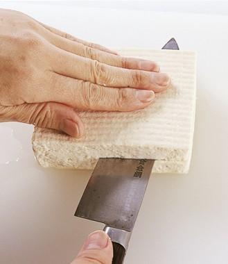豆腐の切り方 厚み半分