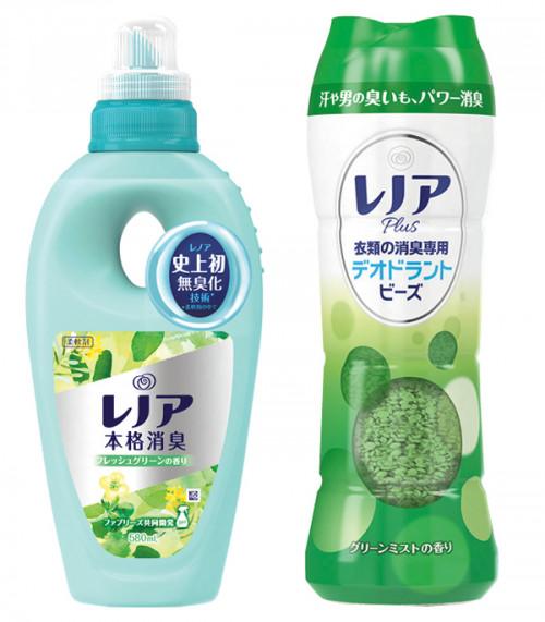 右.洗剤と一緒に使う消臭専用ビーズ。日本初のテクノロジーでパワー消臭。防臭効果が7日間持続。レノアプラス 衣類の消臭専用 デオドラントビーズ グリーンミストの香り 375g オープン価格/P&G 左.柔軟剤。消臭カプセル内の無臭化成分が、ニオイの原因を化学的に中和して無臭化。着用中についたニオイも本格消臭。レノア本格消臭 フレッシュグリーンの香り 580㎖ オープン価格/P&G