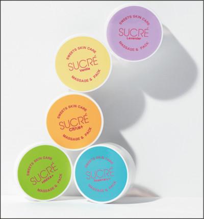 砂糖の粒をオイルコーティングした無添加のシュガースクラブ。香りは5種類。 スイーツスキンケアシュクレ マッサージ&パック(35g)各¥1,200/アビサル・ジャパン