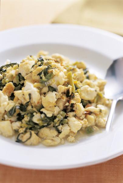 豆腐の実力 豆腐と高菜漬けの炒め物