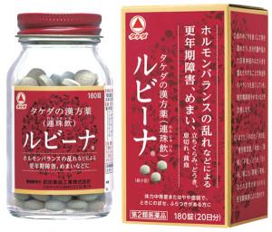 江戸時代に日本で生まれた漢方処方「連珠飲(れんじゅいん)」に基づいた漢方製剤。体力が中等度、またはやや虚弱で、時にのぼせ、ふらつきがある人の、更年期障害、めまい、立ちくらみ、動悸、息切れ、貧血などを改善。ルビーナ[第2類医薬品]¥3,080(180錠)/武田薬品工業