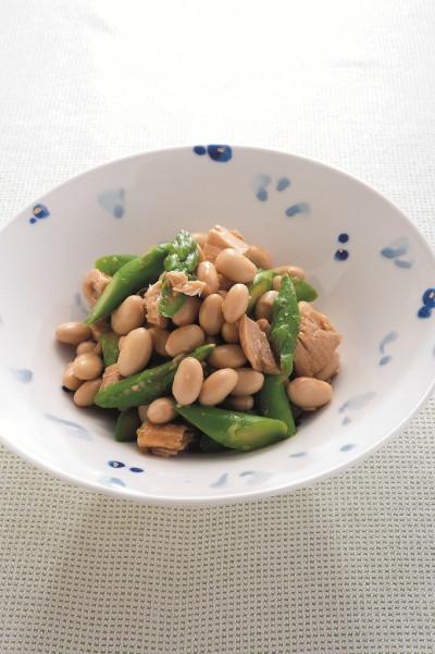 免疫力レシピ34:大豆・ツナ・アスパラのわさび醤油