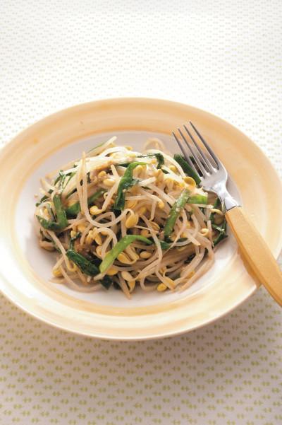 免疫力レシピ44:豆もやしとにらの蒸しゆで