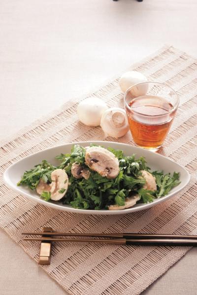 免疫力レシピ41:春菊と生マッシュルームのナムル