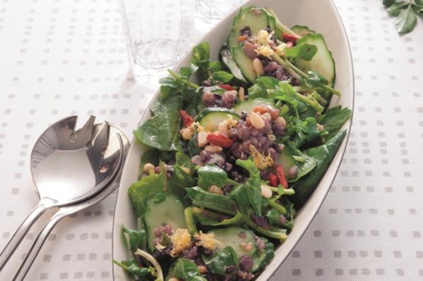 第3章 ミラクル免疫力をつけて、老けない食べ方/レシピ50:雑穀ミックスとクレソン・ルッコラのエスニックサラダ