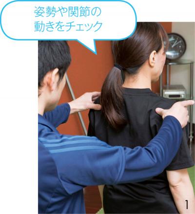 1.肩や骨盤の状態をチェックしたり、関節 や筋肉の柔軟性も確認。