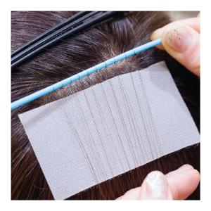 完成したエクステはこんなに繊細。アデランスの人工毛はキューティクル状の凹凸付きで本当に自然!
