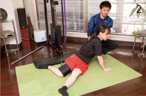 2.マシンにつない だゴムを太ももに通し、上体を後ろにひね りながらお尻を上げて落とすトレーニング。 縮んだ脇腹~お尻が柔軟に。