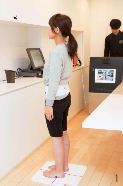 1.骨盤や肩、首などにシールを貼り、正面、 横、後ろ向きの姿勢を撮影。