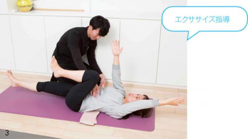 3.ライターWに は、仰向けで左右の手脚を互い違いに伸ば すエクササイズなど腹筋を鍛える効果があ るものを指導。