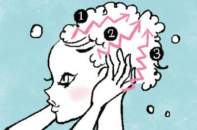 ①前頭部、②側頭部、③後頭部の順に、ジグザグと手を動かし、全体をくまなく洗います。血行促進効果も