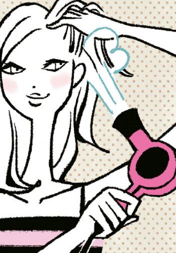 頭皮を手早く乾かしたら、次は髪を。根元をふんわりさせたいときは根元の髪を上げつつ、毛流れと反対の向きに温風→冷風を当てます