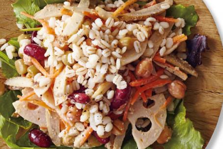 タンパク質たっぷり!パワーサラダ⑲/  根菜の作りおきで押し麦とミックスビーンズのサラダ