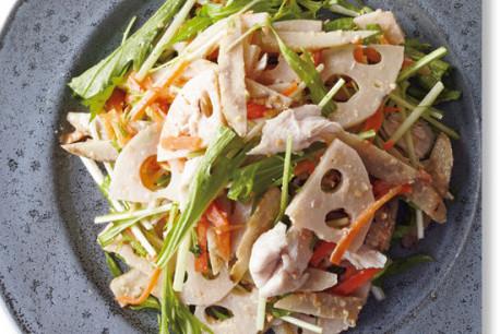 タンパク質たっぷり!パワーサラダ⑱/根菜の作りおきで鶏ささ身のサラダ