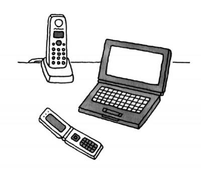 第5章連絡ツールイラスト:電話・PC