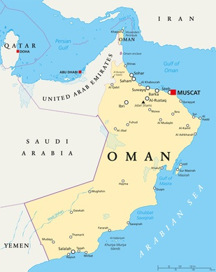 Oman political map with capital Muscat, national borders and important cities. English labeling and scaling. Illustration.