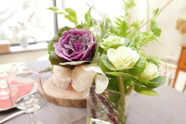 葉牡丹しつらいと、お客様が来た日のテーブル
