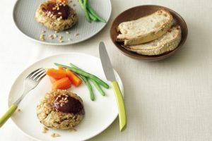スーパー大麦レシピ③/スーパー大麦と水煮大豆、きのこのベジバーグ