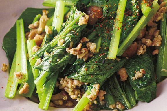 「作りおき」で毎日手軽に「きのこパワー」を摂取!⑧「肉味噌しめじ」で「小松菜炒め」