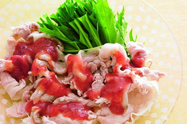 PART2「たれ&ソース」ストック⑩梅みそだれを使った「豚しゃぶと水菜のたれがけ」